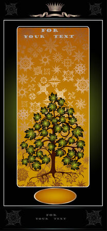 there is advertising or banner with pattern and summer tree  Vector