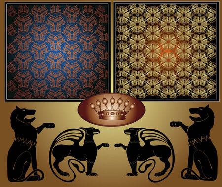 there are two royal textures and heraldic animals lion and griffon Vector