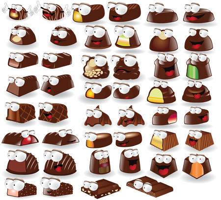 there: there are chocolate candies cartoon character Illustration
