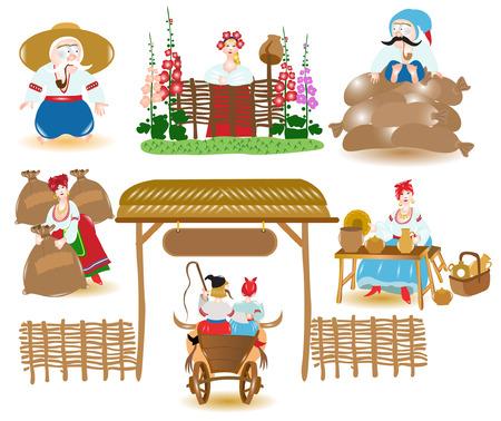 Ukraine market place Illusztráció