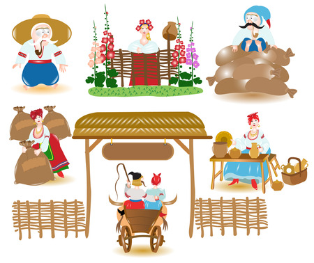 Ukraine market place 向量圖像