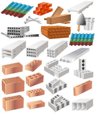 material: there are many building material Illustration