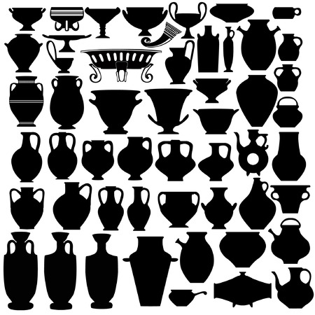 silhouete: there are many vase bowl jug pitcher Illustration