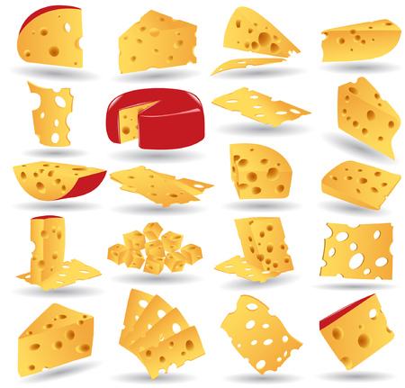queso: Hay una colecci�n de iconos de queso  Vectores