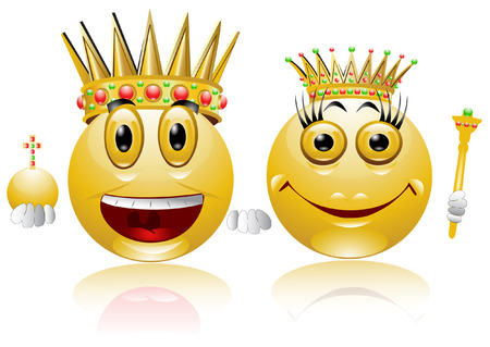 king and queen: king queen glossy smile icon