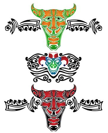 tonto: demonio fool joker tatuaje patr�n Vectores