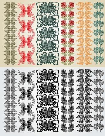 art nouveau colection pattern Vector