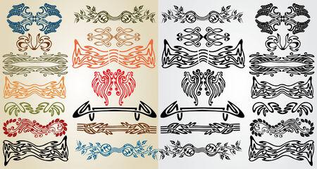 elements art nouveau pattern Vector