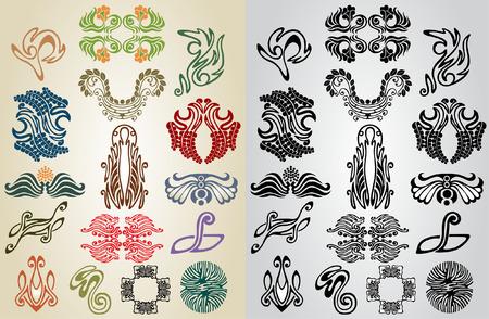 element pattern art nouveau collection Vector