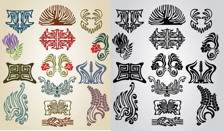 ellements: element pattern collection art nouveau Illustration