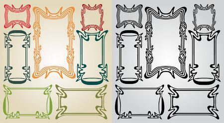 art nouveau frames Vector