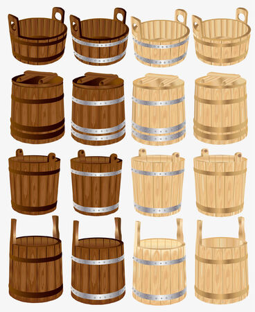 barrel bucket pail tub wood 向量圖像