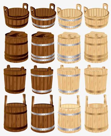 wood barrel: barrel bucket pail tub wood Illustration