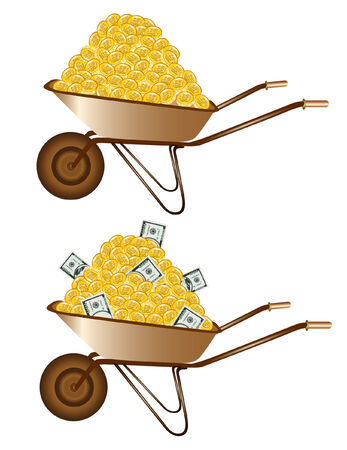 bribe: gold money dollar wheelbarrow Illustration