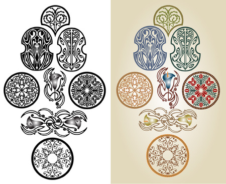 art nouveau pattern collection label brand Vectores