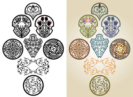 ellements: art nouveau pattern collection label brand Illustration