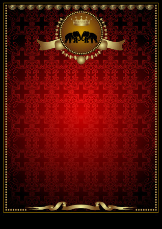 royal luxery red banner with elephant  イラスト・ベクター素材