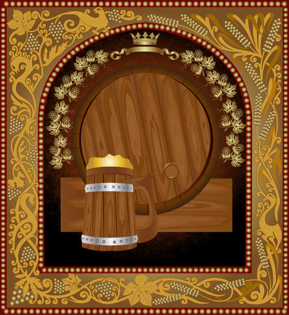barrel advertising wine beer banner Vector