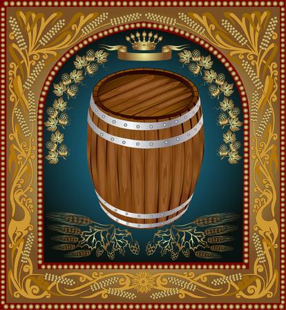banner barrel advertising wine beer Vector