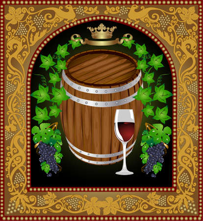 there is a barrel of wine with grape into old pattern frame Vector