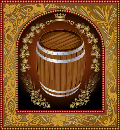 gold plaque: there is a barrel of beer with grain into pattern frame Illustration