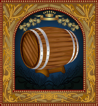 barrels set: there is a barrel of beer with grain into pattern frame Illustration