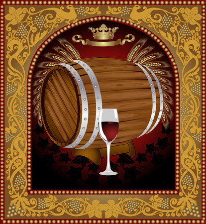 there is a barrel of wine with grape into old pattern frame Stock Vector - 8622947