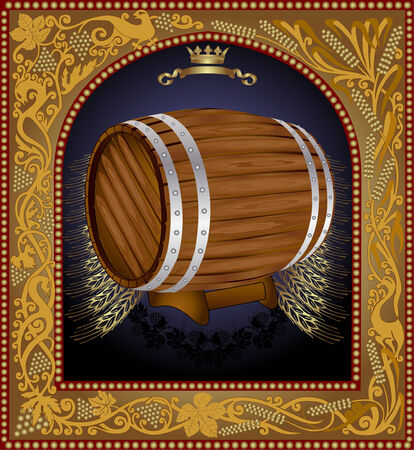 there is a barrel of beer with grain into pattern frame Vectores