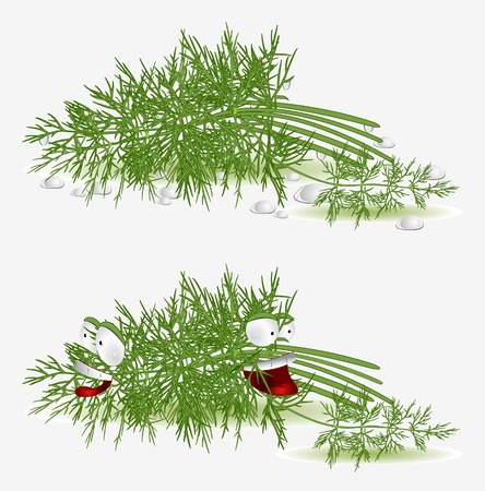 dill character on white background Çizim