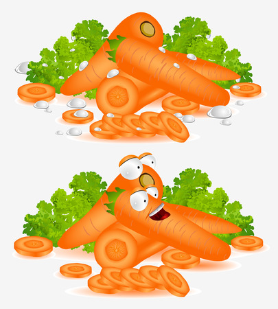 cartoon carrot: carrot character on white background