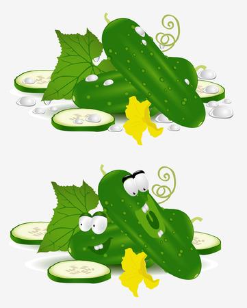 pepino caricatura: car�cter de vegetales de pepino sobre fondo blanco Vectores