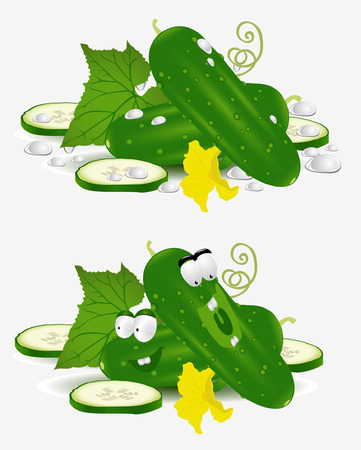 cucumber vegetable character on white background Stock Vector - 8654942