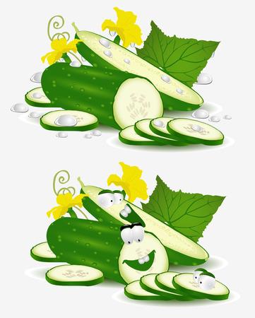 vegetable character cucumber on white background