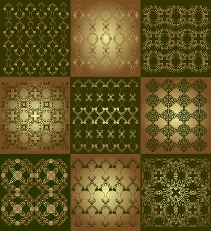 texture collection on gold and green background Vector