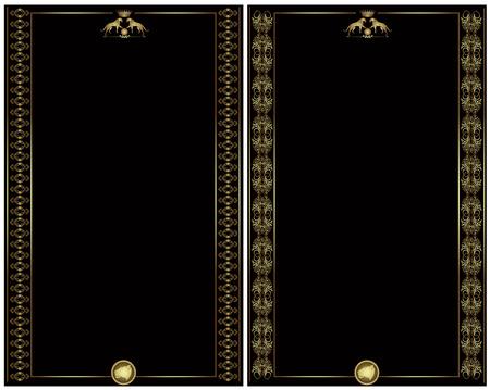 Tarjeta de banner de lujo dorado estilo heráldico Foto de archivo - 9102972