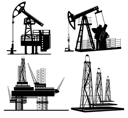 drilling machine: oil station silhouette hand drawn