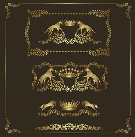 luxury heraldic golden set Vector