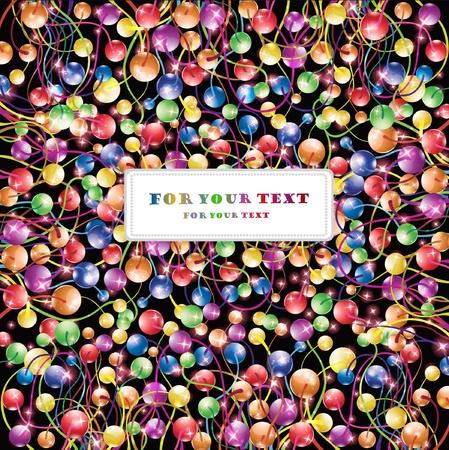 boll: shinny flower rainbow boll glossy black background Illustration