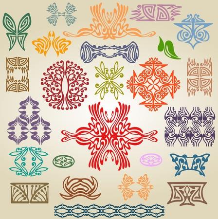art nouveau pattern ellement Vector