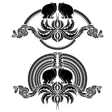 heraldic elephant silhouette Vector