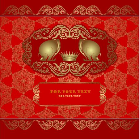 india pattern: elephant silhouette red background gold banner