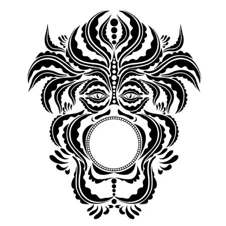 beastly: spirit demon face silhouette symbol