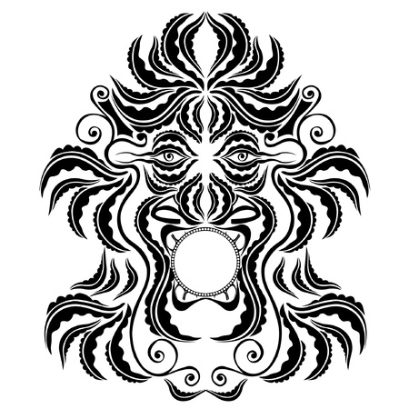 trible spirit demon face silhouette symbol Vector