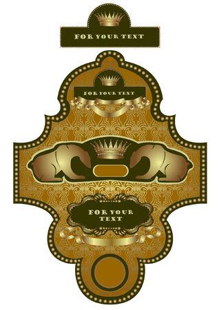 advertising gold label banner bear Stock Vector - 9656725