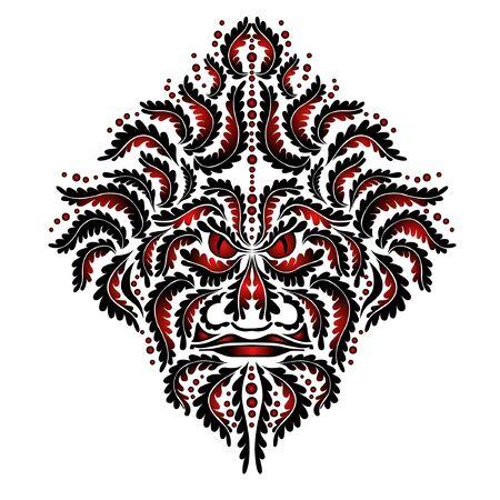 beast demon spirit red face tribal tattoo Stock Vector - 9656712