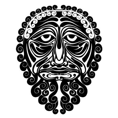 mask face demon spirit silhouette Vector