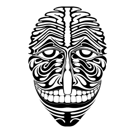 mayan culture: spirit demon joker face silhouette Illustration