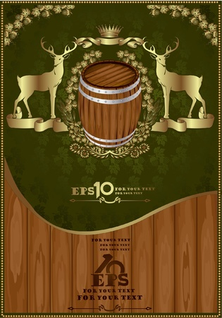 beer luxury background banner gold oak advertising Vector