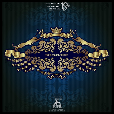 haraldic luxury label gold background banner Vector
