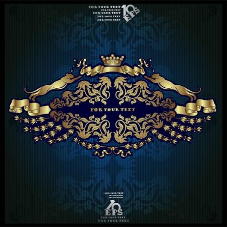 haraldic luxury label gold background banner
